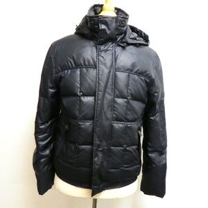 ANDREW MARC BLACK HOODED down PUFFER JACKET S